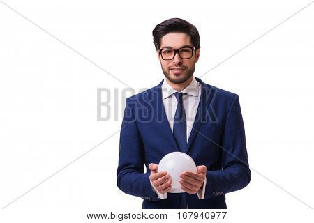 Businessman with crystall ball isolated on white background