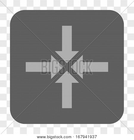 Compress Arrows interface toolbar button. Vector icon style is a flat symbol inside a rounded square button, light gray and gray colors, chess transparent background.