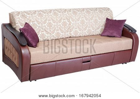 Sleeper convertible sofa bed couch with storage space isolated on white background saved path selection.