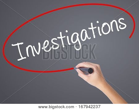 Woman Hand Writing Investigations With Black Marker On Visual Screen.