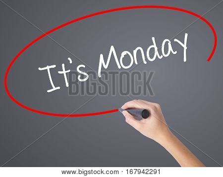 Woman Hand Writing It's Monday With Black Marker On Visual Screen
