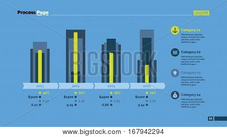 Four periods percentage chart. Business data. Graph, diagram, design. Concept for infographic, presentation, report. Can be used for topics like analysis, statistics, marketing.