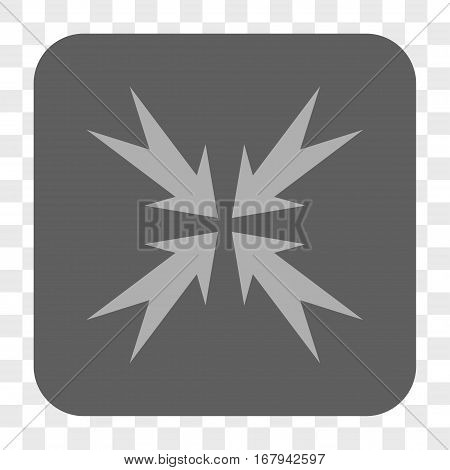 Compression Arrows interface toolbar button. Vector icon style is a flat symbol on a rounded square button, light gray and gray colors, chess transparent background.