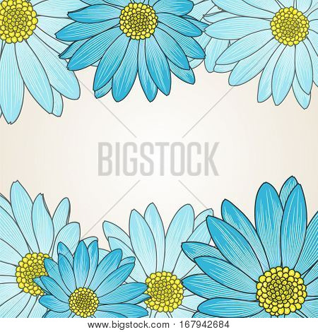 Floral pattern with flower chamomile. Element for design. Hand-drawing vector illustration.