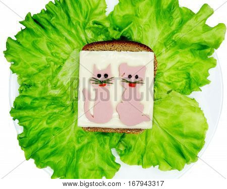creative sandwich with cheese and salame cat and dog shape