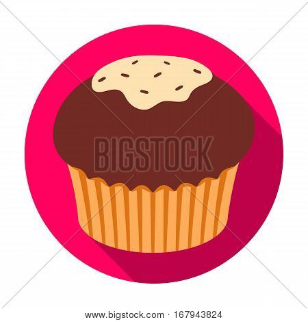 Chocolate cupcake icon in flat design isolated on white background. Chocolate desserts symbol stock vector illustration.