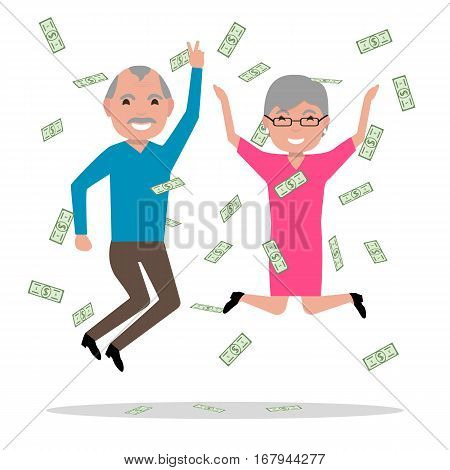 Vector illustration cartoon old people jumping with joy. Falling on top of money, richness. Isolated on white background. Grandparents won the big prize and became rich. Flat style.