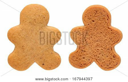 Undecorated Gingerbread Man Cookie isolated on white with clipping path. Cookie is ready for your decorations.