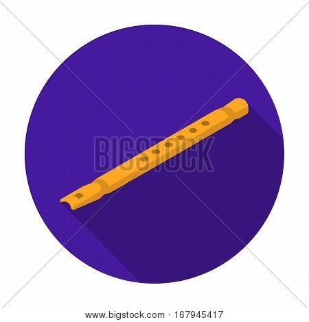 Wooden flute icon in flat design isolated on white background. Musical instruments symbol stock vector illustration.