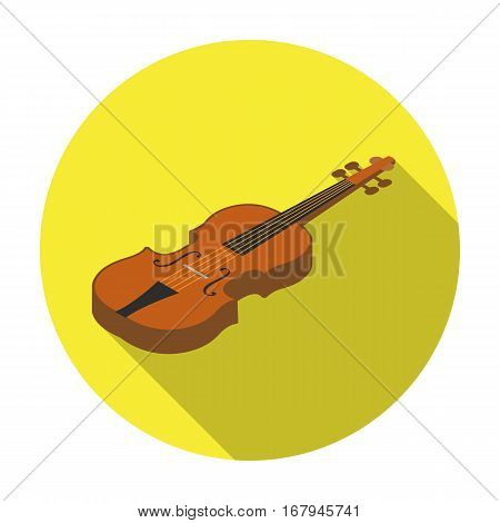 Violin icon in flat design isolated on white background. Musical instruments symbol stock vector illustration.