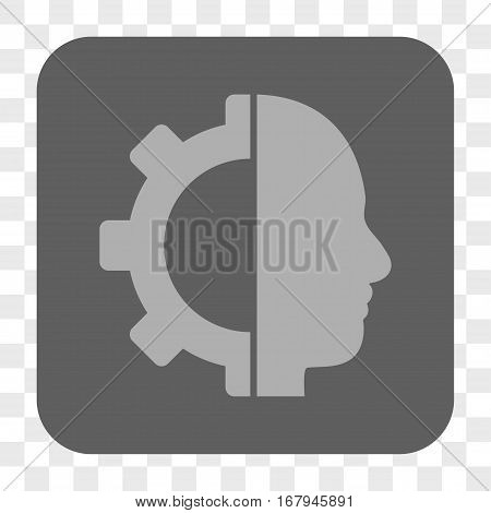 Cyborg Gear interface toolbar button. Vector icon style is a flat symbol in a rounded square button, light gray and gray colors, chess transparent background.