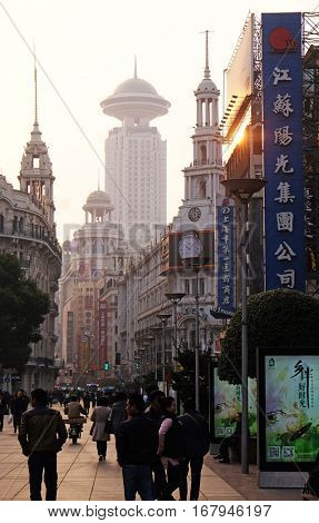 SHANGHAI - FEBRUARY 29. Nanjing Road in Shanghai. The area is the main shopping district in Shanghai city and one of the world's busiest shopping streets in Shanghai, China, February 29, 2016.