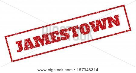 Red rubber seal stamp with Jamestown text. Vector message inside rectangular banner. Grunge design and dirty texture for watermark labels. Inclined sticker.
