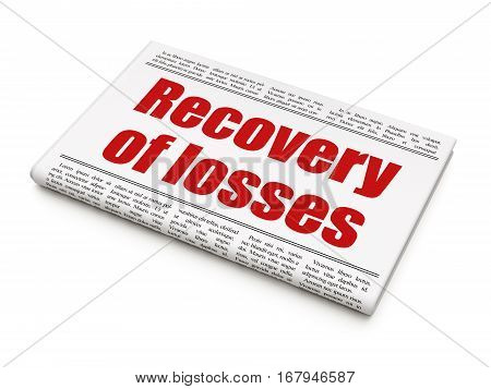 Currency concept: newspaper headline Recovery Of losses on White background, 3D rendering