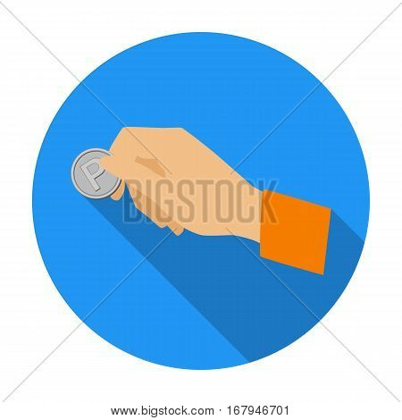 Hand holding coin for parking meter icon in flat design isolated on white background. Parking zone symbol stock vector illustration.