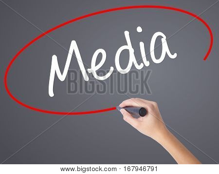 Woman Hand Writing Media With Black Marker On Visual Screen