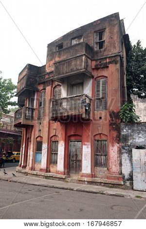 KOLKATA, INDIA - FEBRUARY 09: An aging, decaying, ex-colonial tenement block in Kolkata, India on February 09, 2016.