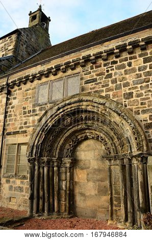 A view of the architectural detail of the old kirk in Kirkliston