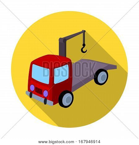 Tow truck icon in flat design isolated on white background. Parking zone symbol stock vector illustration.