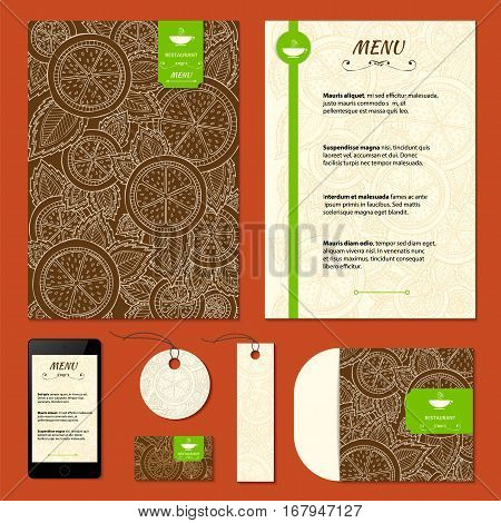 Corporate identity. Menu and Business cards for cafe and restaurant. Coffee and tea concept design. - stock vector