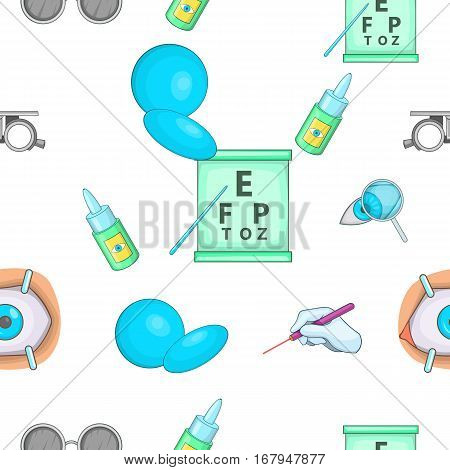 Ophthalmology pattern. Cartoon illustration of ophthalmology vector pattern for web