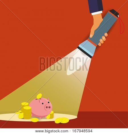 Flashlight and Pig Bank. Saving Money Symbol.