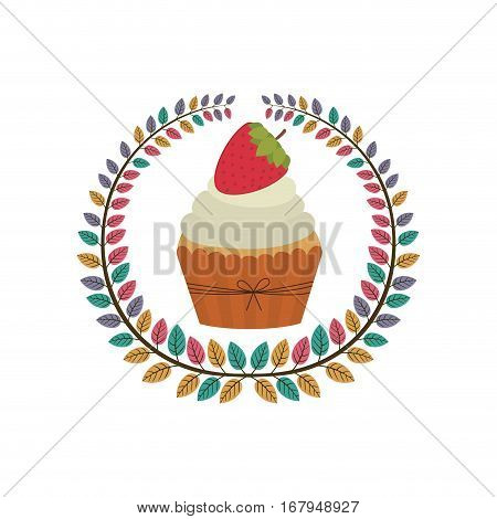 crown of leaves with cupcake with cream and strawberry vector illustration
