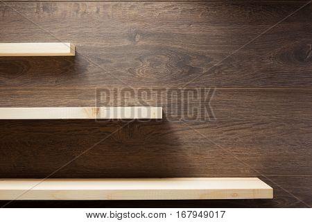 wooden shelf at brown background  texture