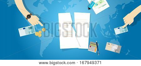Cancel TPP Trans-Pacific Partnership agreement tear contract paper document vector