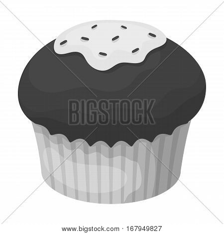 Chocolate cupcake icon in monochrome design isolated on white background. Chocolate desserts symbol stock vector illustration.