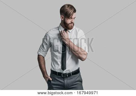 Perfect businessman. Young man in formalwear adjusting his necktie and looking away while standing against grey background