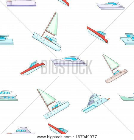 Yacht pattern. Cartoon illustration of yacht vector pattern for web