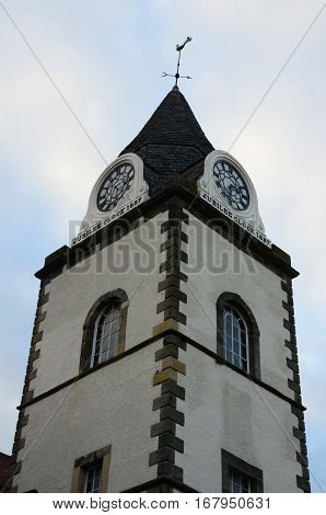 A view of an old clock tower building in South Queensferry