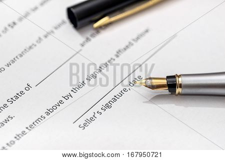Contract For Purchase Of Car With Pen