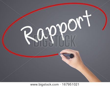 Woman Hand Writing Rapport With Black Marker On Visual Screen