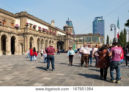 MEXICO CITY,MEXICO - DECEMBER 27,2016 : Visitors at Chapultepec Castle, home of the National History Museum in Mexico City