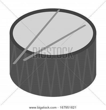 Drum icon in monochrome design isolated on white background. Musical instruments symbol stock vector illustration.