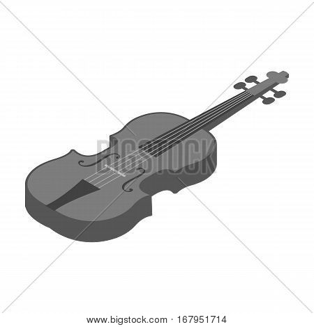 Violin icon in monochrome design isolated on white background. Musical instruments symbol stock vector illustration.