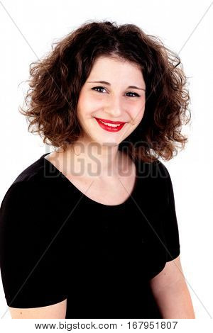 Portrait of a beautiful curvy girl with red lips isolated on a white background