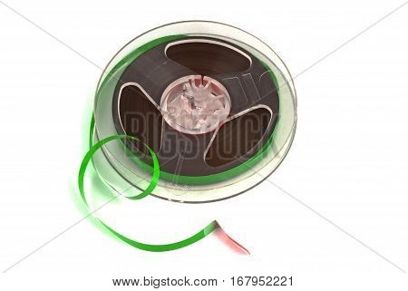 old used audio tape isolated on the white background