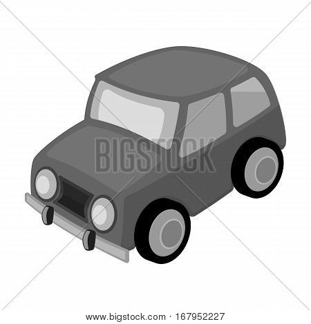 Car icon in monochrome design isolated on white background. Parking zone symbol stock vector illustration.