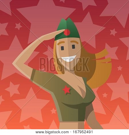 Military women salute. Army forse. Day of defenders of fatherland. Russian national holiday. Day of the mens. Text on russian, twenty three of february. Vector illustration cartoon style postcard.