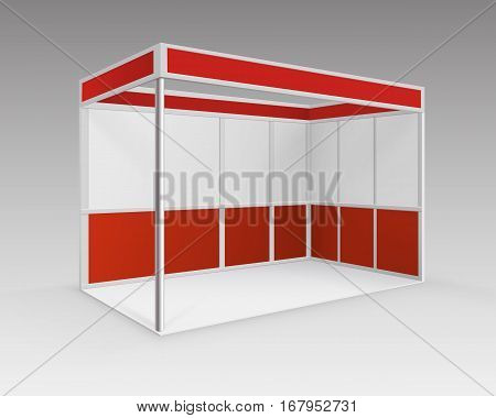 Vector Red Blank Indoor Trade exhibition Booth Standard Stand for Presentation in Perspective Isolated on Background