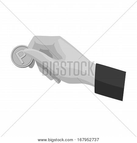 Hand holding coin for parking meter icon in monochrome design isolated on white background. Parking zone symbol stock vector illustration.