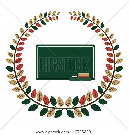 crown of leaves with school slate vector illustration