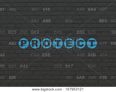 Privacy concept: Painted blue text Protect on Black Brick wall background with Hexadecimal Code