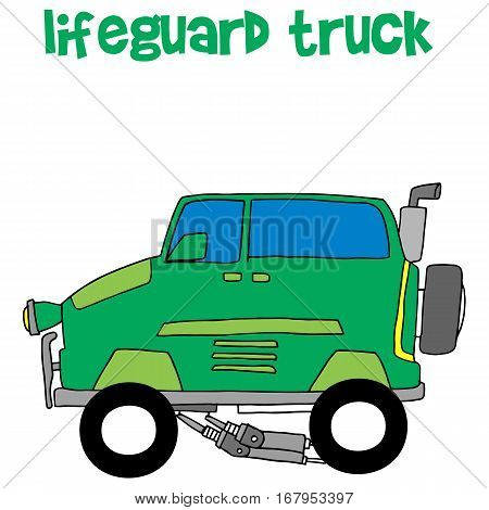 Lifeguard truck collection transportation vector art illustration