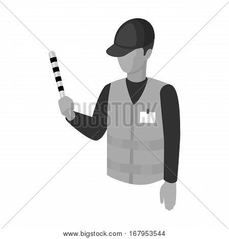 Parking attendant icon in monochrome design isolated on white background. Parking zone symbol stock vector illustration.