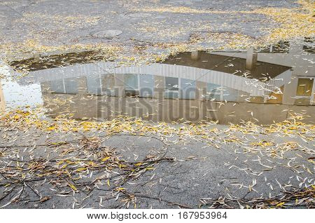 bad quality road with puddles and potholes