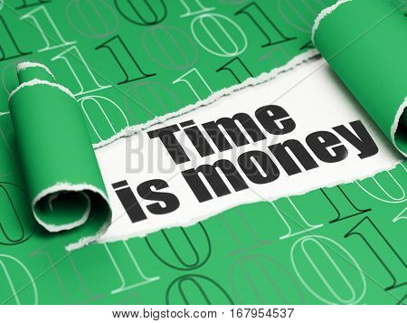 Finance concept: black text Time Is money under the curled piece of Green torn paper with  Binary Code, 3D rendering